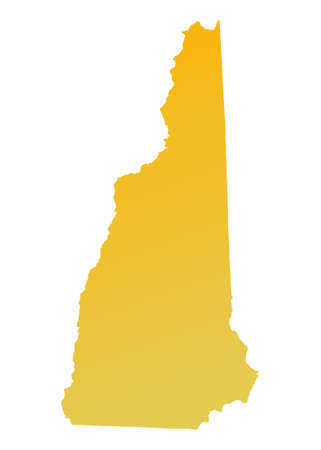 Orange gradient New Hampshire map, USA. Detailed, Mercator projection. photo