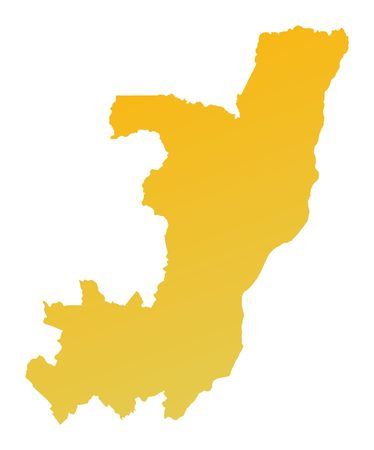 shading: Orange gradient Congo map. Detailed, Mercator projection. Stock Photo