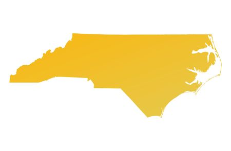 carolina: Orange gradient North Carolina map, USA. Detailed, Mercator projection. Stock Photo
