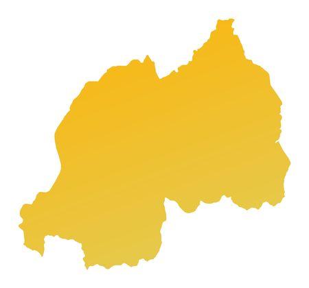 shading: Orange gradient Rwanda map. Detailed, Mercator projection. Stock Photo