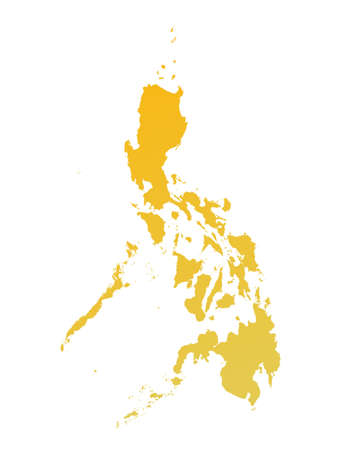 philippines  map: Orange gradient Philippines map. Detailed, Mercator projection.