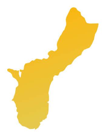 guam: Orange gradient Guam map. Detailed, Mercator projection. Stock Photo