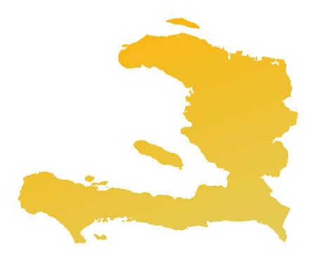 shading: Orange gradient Haiti map. Detailed, Mercator projection. Stock Photo