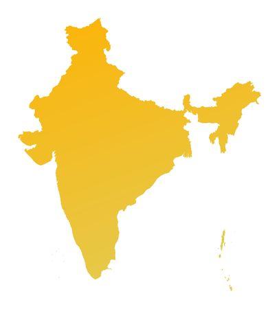 shading: Orange gradient India map. Detailed, Mercator projection. Stock Photo