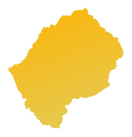 lesotho: Orange gradient Lesotho map. Detailed, Mercator projection. Stock Photo