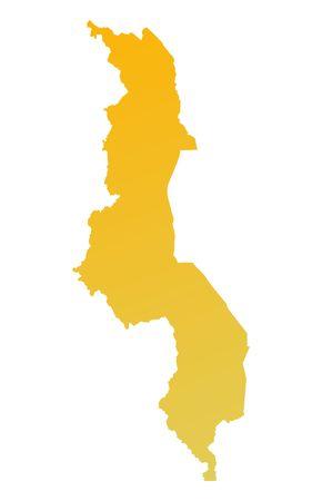 malawi: Orange gradient Malawi map. Detailed, Mercator projection. Stock Photo