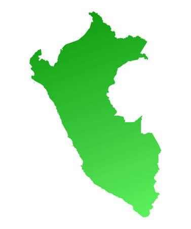 peru map: Green gradient Peru map. Detailed, Mercator projection.