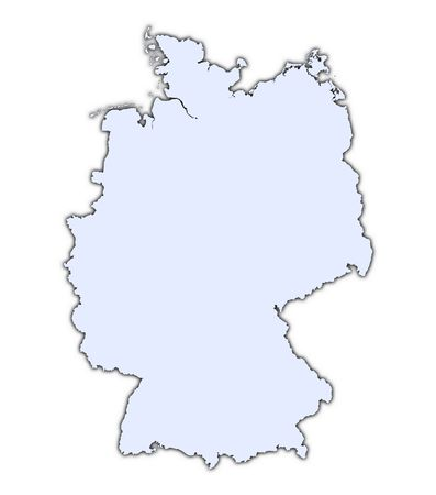 resolution: Germany light blue map with shadow. High resolution. Mercator projection. Stock Photo