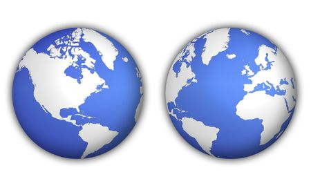two different views of world globe with shadow Stock Photo