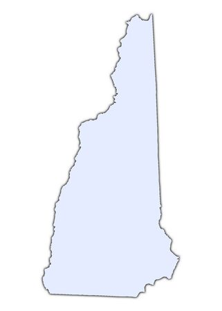 New Hampshire (USA) light blue map with shadow. High resolution. Mercator projection. photo