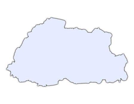 bhutan: Bhutan light blue map with shadow. High resolution. Mercator projection. Stock Photo