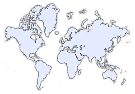 world light blue map with shadow. High resolution. Mercator projection. Stock Photo - 2347726