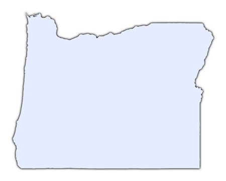 Oregon (USA) light blue map with shadow. High resolution. Mercator projection.