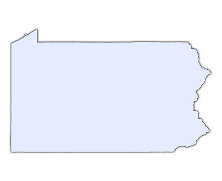 pennsylvania: Pennsylvania (USA) light blue map with shadow. High resolution. Mercator projection.