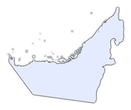 high resolution: United Arab Emirates light blue map with shadow. High resolution. Mercator projection.