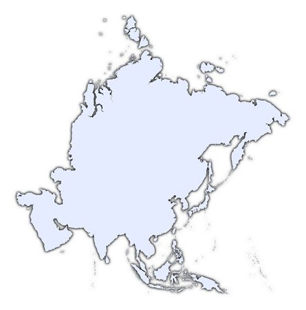Asia continent light blue map with shadow. High resolution. Mercator projection. Stock Photo - 2366745