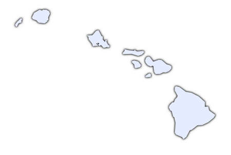 Hawai light blue map with shadow. High resolution. Mercator projection.