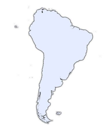 South America continent light blue map with shadow. High resolution. Mercator projection. Stock Photo - 2366741