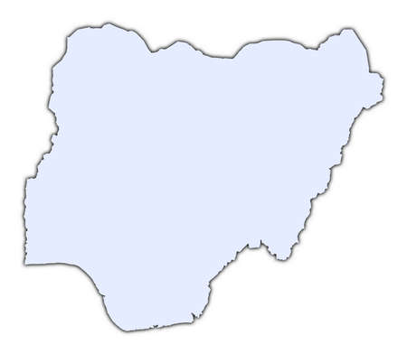 Nigeria light blue map with shadow. High resolution. Mercator projection. photo