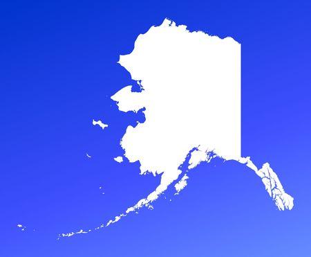 resolution: Alaska(USA) map on blue gradient background. High resolution. Mercator projection.