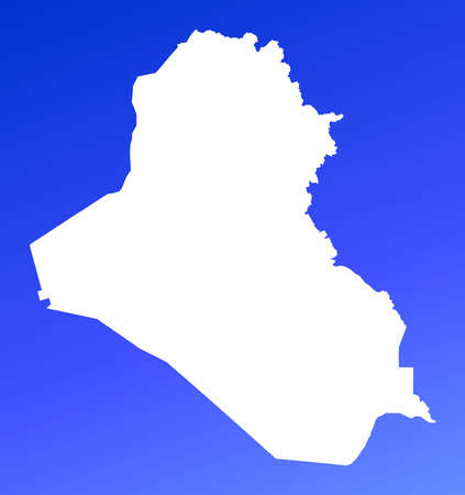 mercator: Iraq map on blue gradient background. High resolution. Mercator projection. Stock Photo