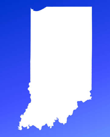 mercator: Indiana(USA) map on blue gradient background. High resolution. Mercator projection. Stock Photo