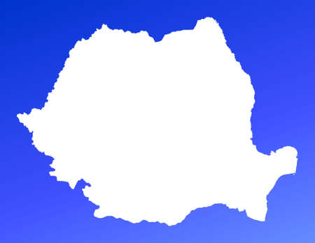 Romania map on blue gradient background. High resolution. Mercator projection. photo