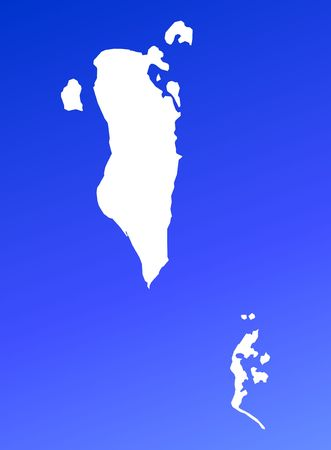 shading: Bahrain map on blue gradient background. High resolution. Mercator projection.