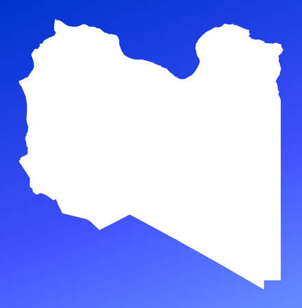 libya: Libya map on blue gradient background. High resolution. Mercator projection.