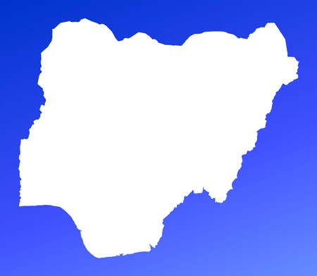 Nigeria map on blue gradient background. High resolution. Mercator projection. photo