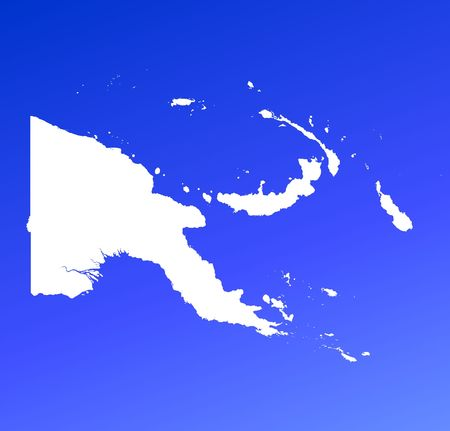 shading: Papua New Guinea map on blue gradient background. High resolution. Mercator projection.