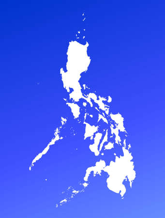 philippines  map: Philippines map on blue gradient background. High resolution. Mercator projection. Stock Photo