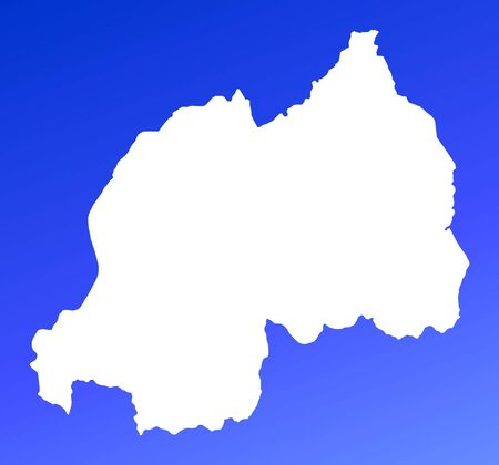 Rwanda map on blue gradient background. High resolution. Mercator projection. photo