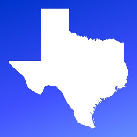 Mapa de Texas(USA) en fondo azul del gradiente. De alta resolución. Proyección de Mercator. Foto de archivo - 2432660
