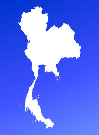 Thailand map on blue gradient background. High resolution. Mercator projection. photo