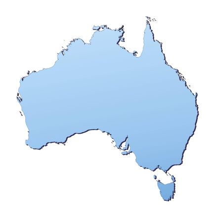 3d bitmap: Australia map filled with light blue gradient. High resolution. Mercator projection.
