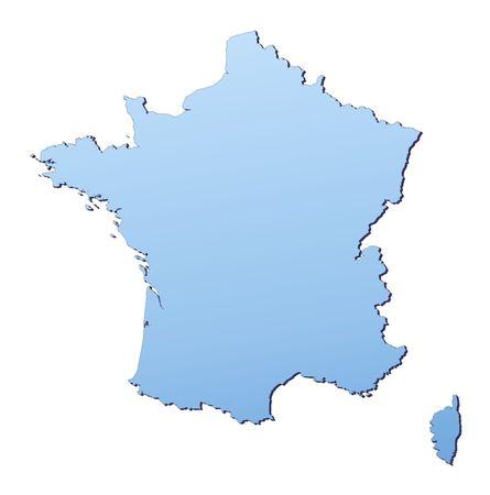 France map filled with light blue gradient. High resolution. Mercator projection. photo