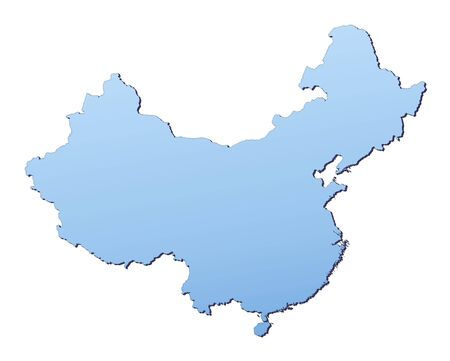 resolution: China map filled with light blue gradient. High resolution. Mercator projection.