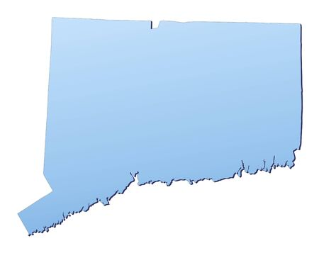 3d bitmap: Connecticut(USA) map filled with light blue gradient. High resolution. Mercator projection.