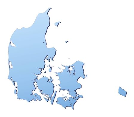 Denmark map filled with light blue gradient. High resolution. Mercator projection. Stock Photo - 2442129