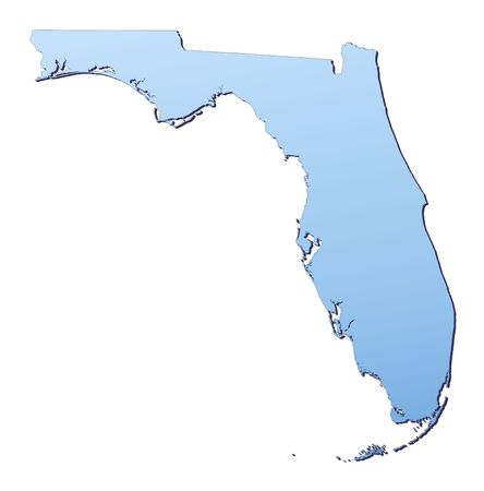 united state: Florida(USA) map filled with light blue gradient. High resolution. Mercator projection.