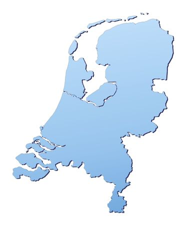 netherlands map: Netherlands map filled with light blue gradient. High resolution. Mercator projection. Stock Photo