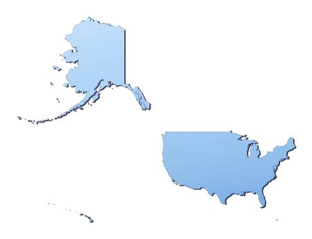 shading: United States map filled with light blue gradient. High resolution. Mercator projection. Stock Photo