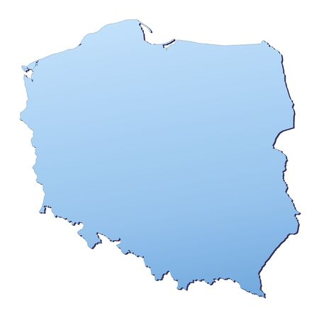 resolution: Poland map filled with light blue gradient. High resolution. Mercator projection. Stock Photo