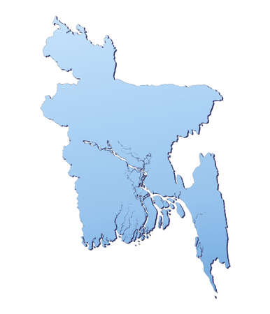 shading: Bangladesh map filled with light blue gradient. High resolution. Mercator projection.