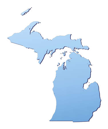 3d bitmap: Michigan(USA) map filled with light blue gradient. High resolution. Mercator projection. Stock Photo