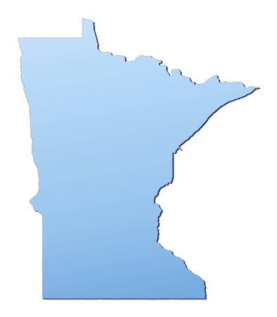 3d bitmap: Minnesota(USA) map filled with light blue gradient. High resolution. Mercator projection. Stock Photo