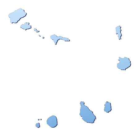 shading: Cape Verde map filled with light blue gradient. High resolution. Mercator projection. Stock Photo