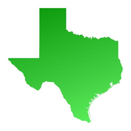 Green gradient Texas map, USA. Detailed, Mercator projection.