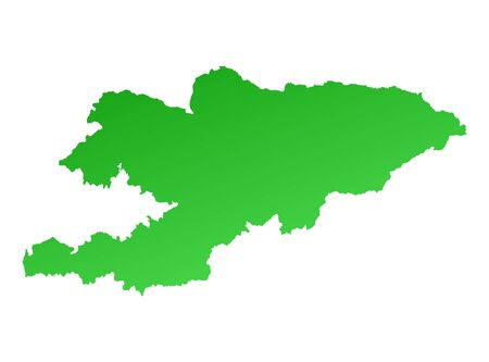 shading: Green gradient Kyrgyzstan map. Detailed, Mercator projection.
